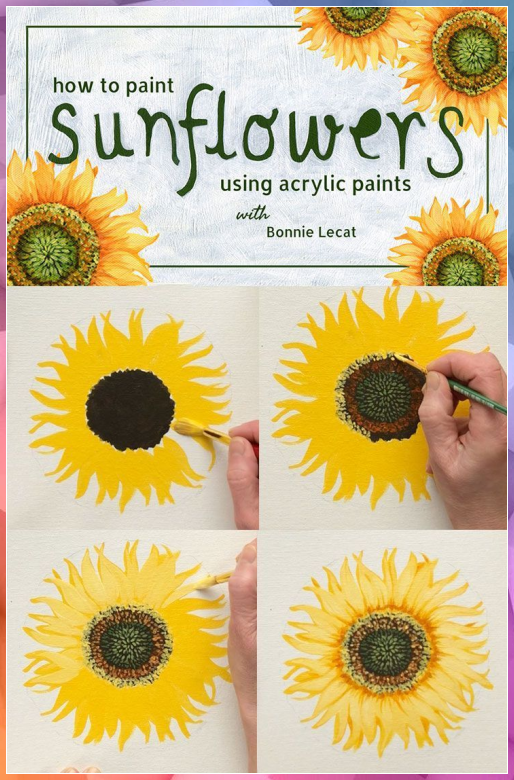 How To Paint Acrylic Sunflower With Bonnie Lecat Merys Stores Acrylic Acrylic Painting Subjects In 2020 Acrylic Painting Flowers Sunflower Painting Flower Painting