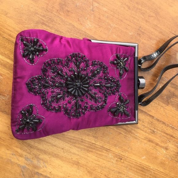 Lovely vintage-inspired evening bag New Tracey Reese hand bag. 9 inch high 7 inch wide. Magenta satin, hand - beaded with black crystals. Mirror inside. Perfect for a wedding or a girls' night out! Tracey Reese Bags