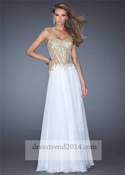 Long White Gold Chiffon Corset Prom Dresses For Cheap My Style