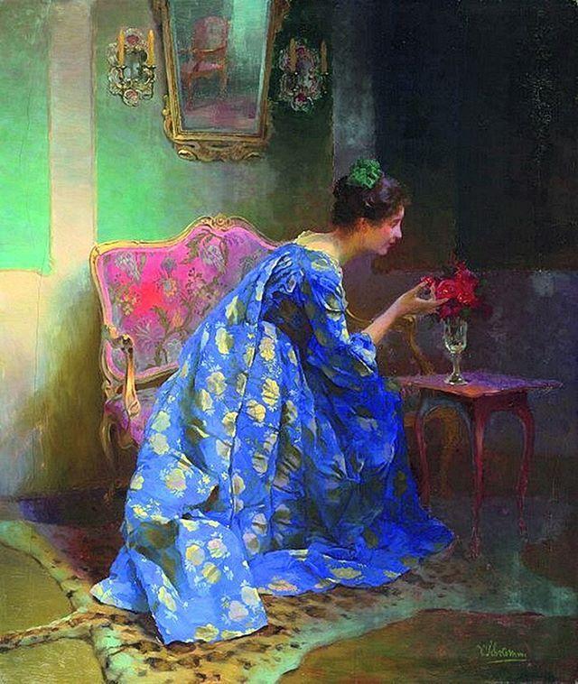 """Viktor Schramm, A Perfect Scent (""""Dame im blauen Kleid""""), (1897)"""