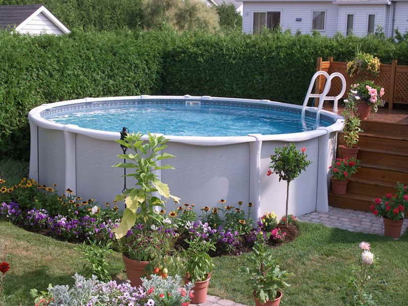 Above Ground Pools Designs with ornamental plants for the pool I ...