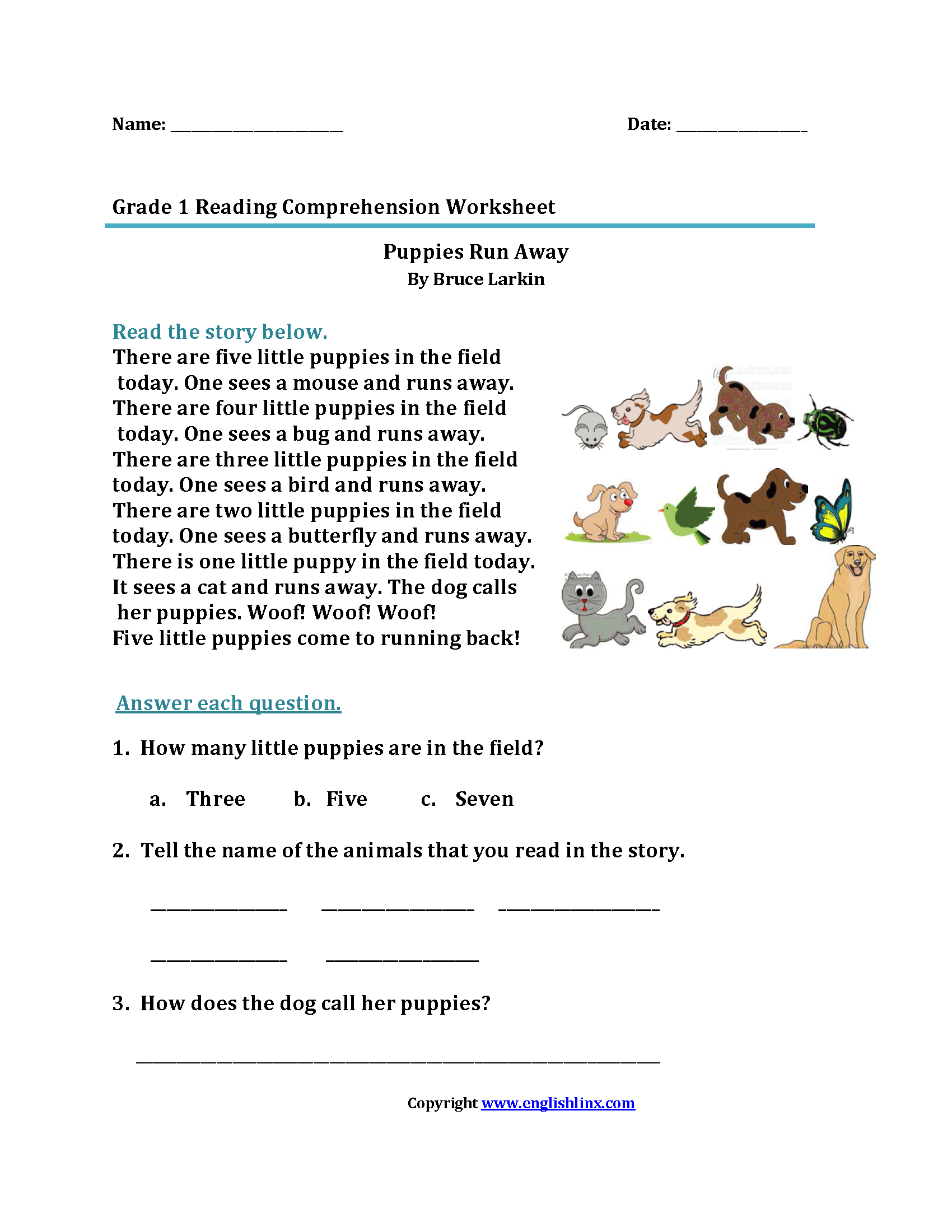 Puppies Run Away First Grade Reading Worksheets