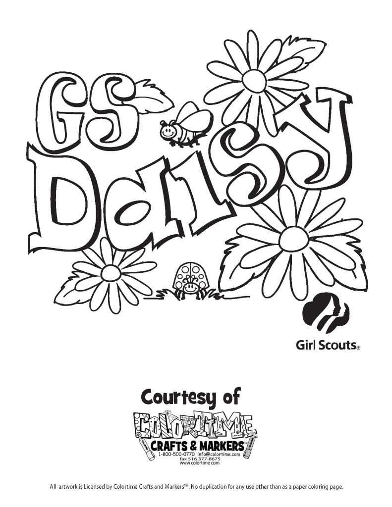 coloring pictures of scouts daisy images of to print just