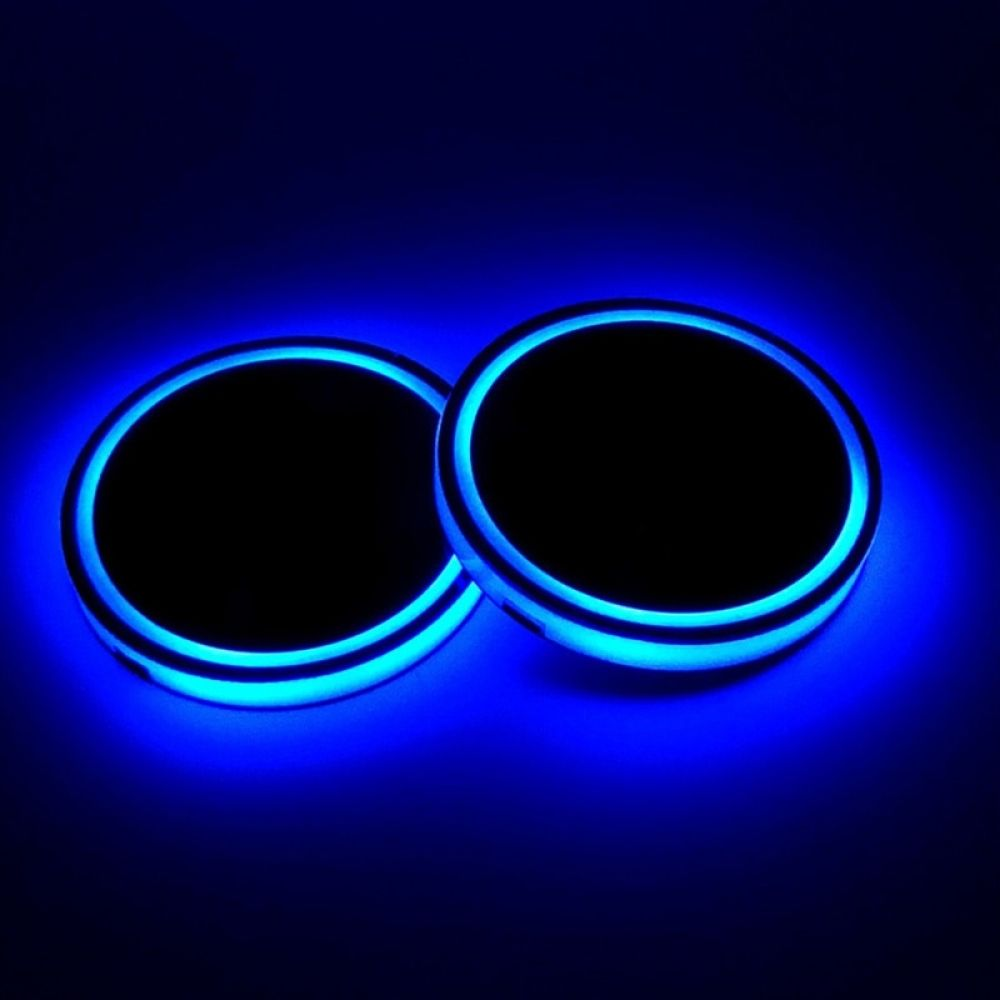 SUMUPUT LED Car Cup Holder Lights for Chevrolet Accessories Auto LED Interior Atmosphere Lamp 7 Colors Changing USB Charging Mat Luminescent Cup Pad 2 PCS Car Logo Coaster