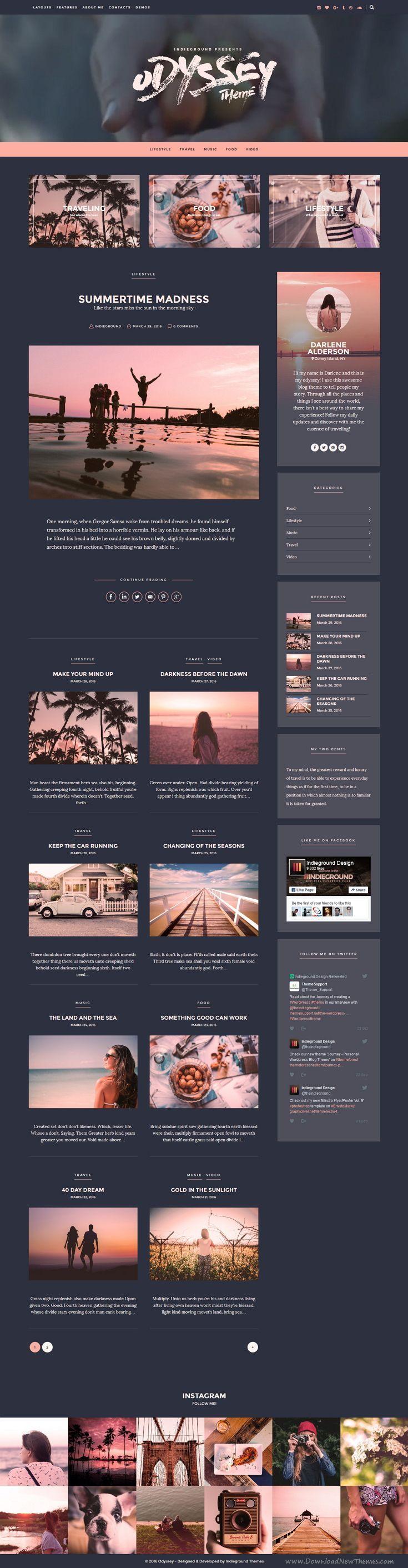Odyssey - Personal WordPress Blog Theme | Wordpress blog themes ...