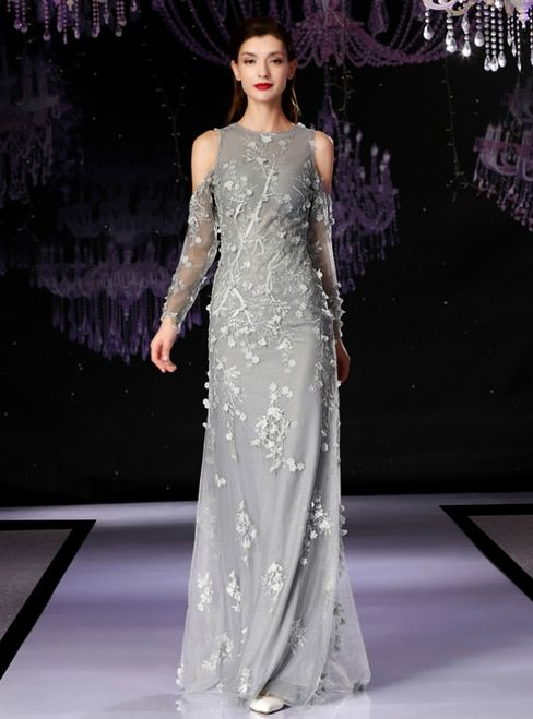 9eba8be3d2f Gray Tulle Appliques Long Sleeve Mother Of The Bride Dress