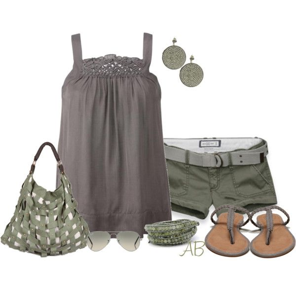 """""""Grey and Green"""" by amandabeaulieu on Polyvore"""