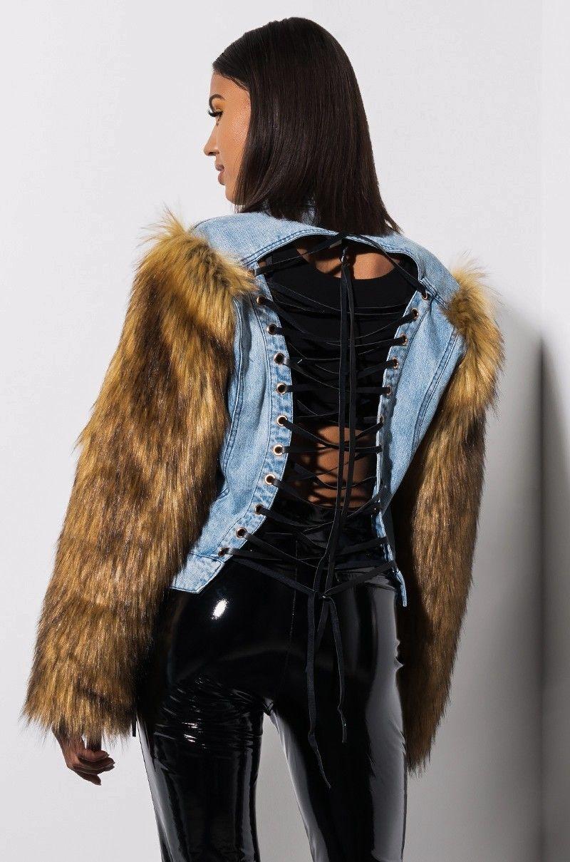 AKIRA Label Lace Up Denim Jacket Faux Fur Sleeves in Denim