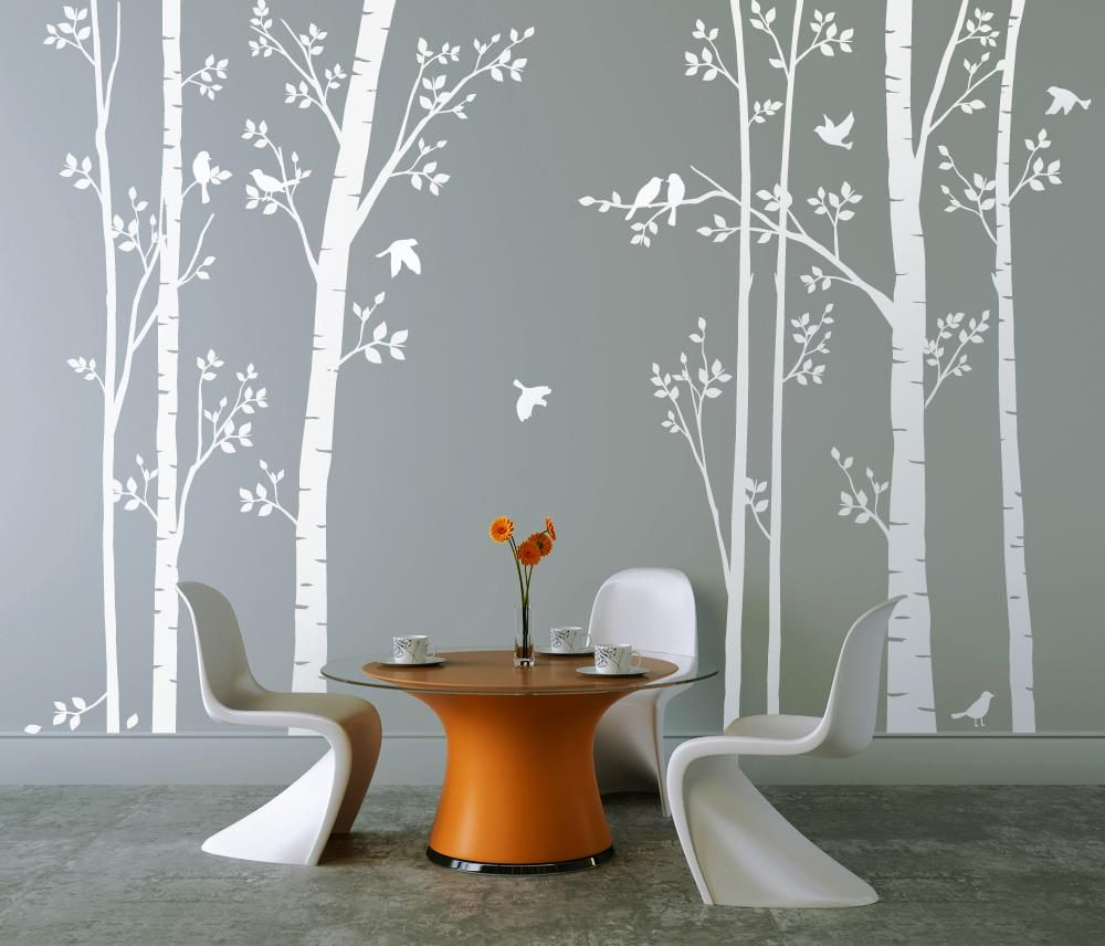 Leafy Trees In White Wall Sticker