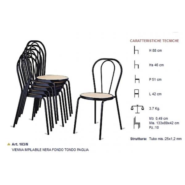 Sedia thonet modello Vienna impilabili in metallo e seduta in finta ...