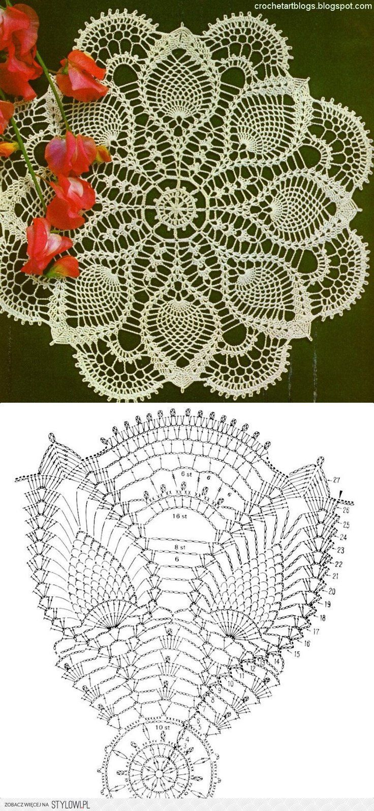Crochet Lace Pineapple Doily and Chart | Pretty | Pinterest ...