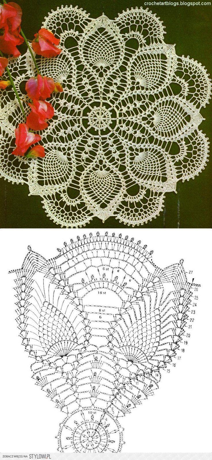 Crochet Lace Pineapple Doily and Chart | Carpeta | Pinterest ...