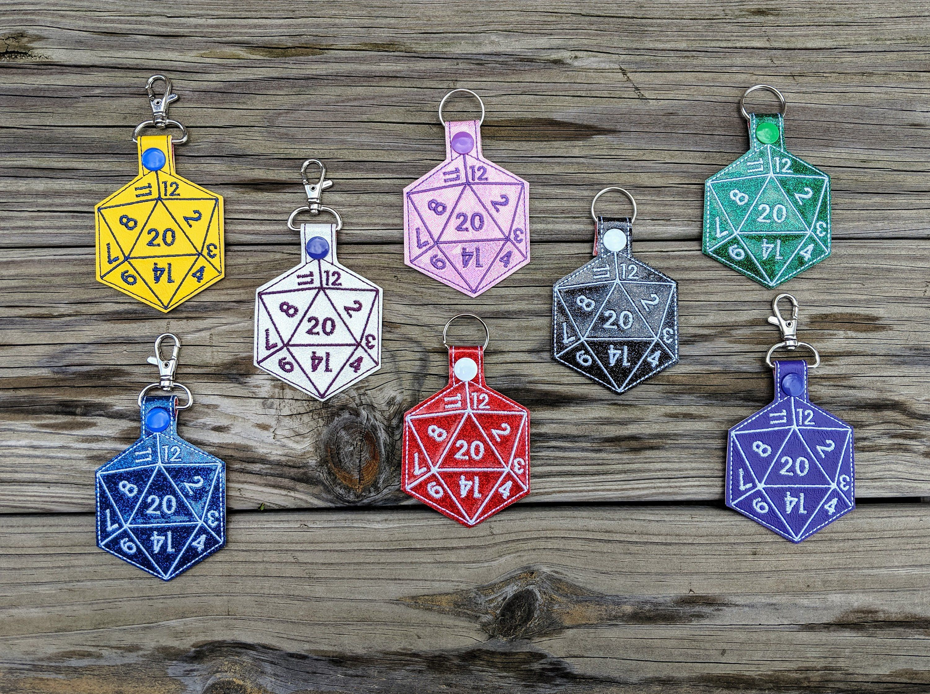 Dice Keychain, 20Sided die, Dodecahedron, D&D Keychain