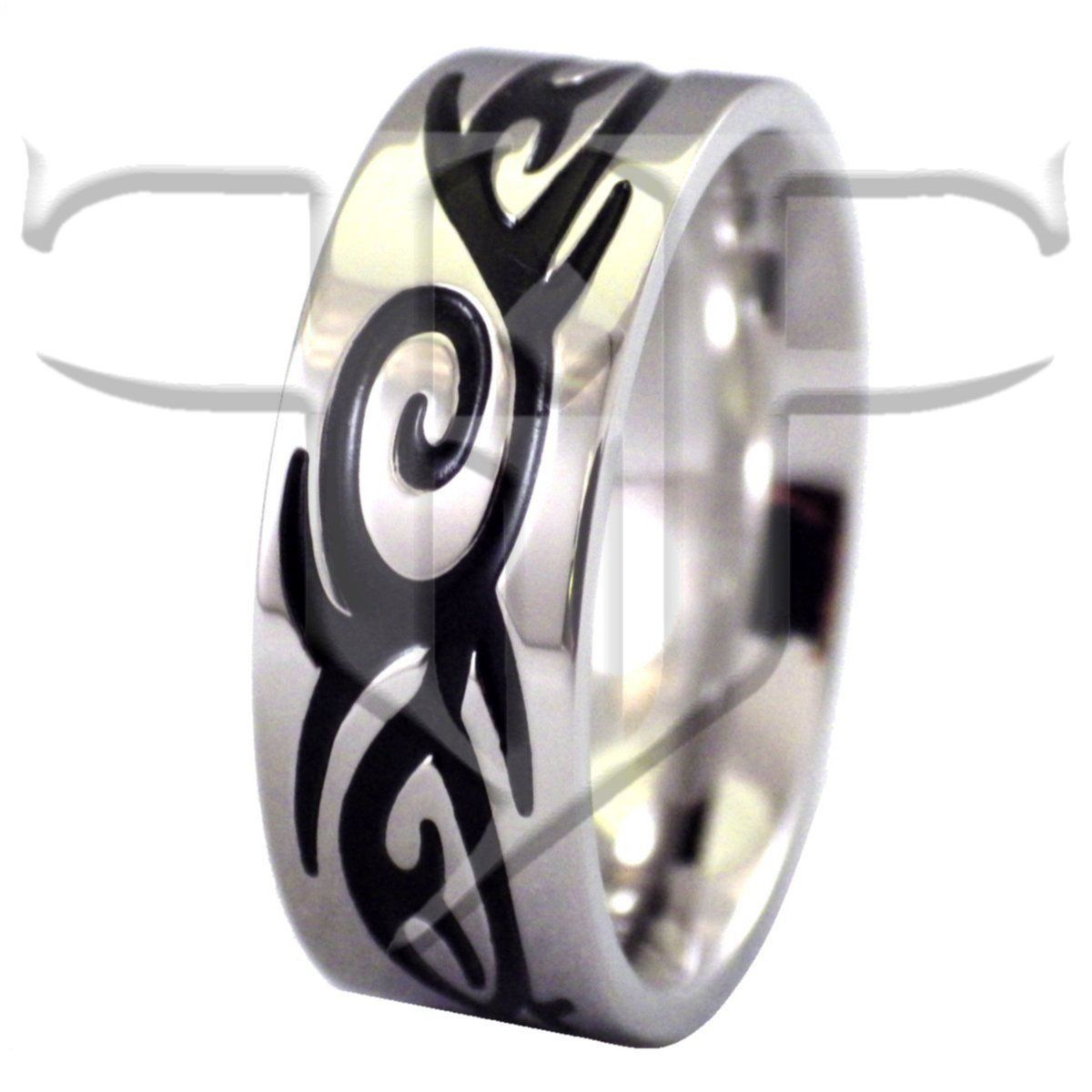 It is just a photo of Mens Tribal Tattoo Band Stainless Steel Rings Cool wedding rings