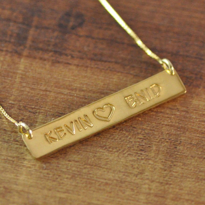 Find More Pendant Necklaces Information About Hand Stamped Necklace 18k Gold Plated In 925 Sterling Engraved Bar Necklace Diamond Bar Necklace Bar Necklace