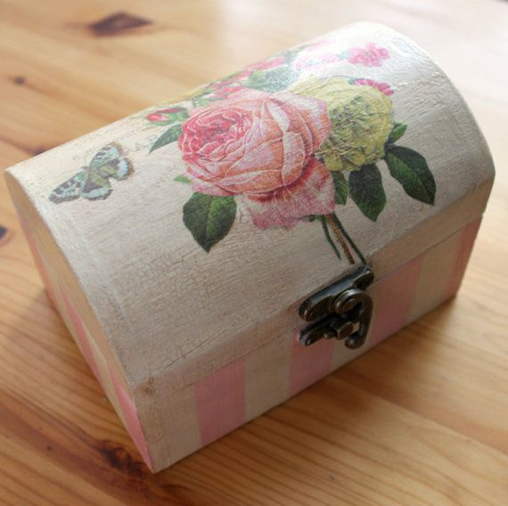 Vintage style  Paris roses wooden box small  by witchcorner