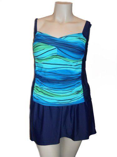 Womens Delta Burke Plus Size Tankini Skirtini Swim Skirt Swimsuit Swimwear, Navy Green Blue Stripe 18-24 Delta Burke. $59.99