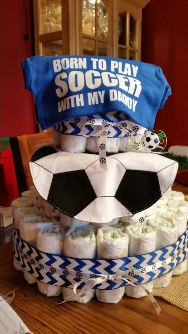 Soccer baby diaper cake