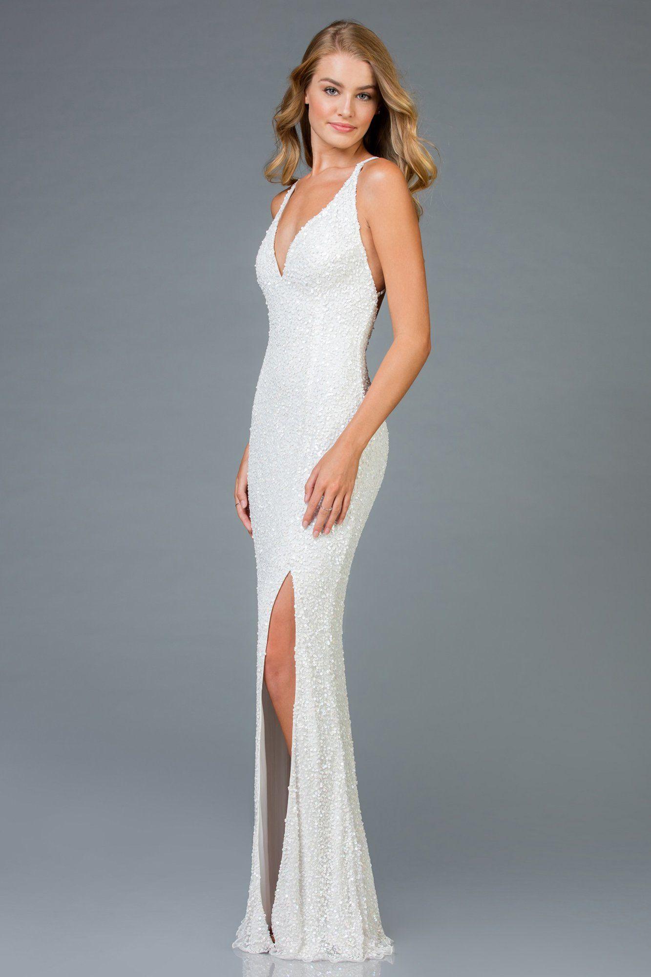 Scala 48949 Sequined Plunging Halter V Neck Sheath Dress White Sparkly Dress White Prom Dress Long White Prom Dress [ 2000 x 1333 Pixel ]