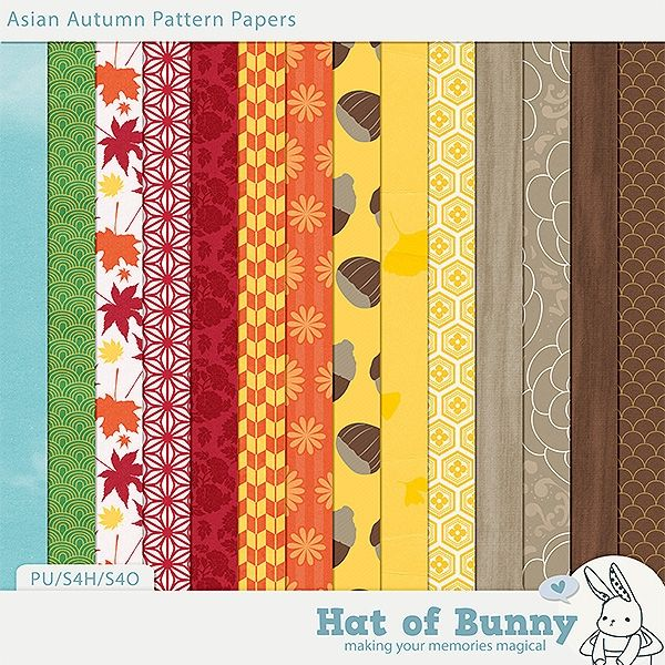 Asian Autumn Patterns by Hat of Bunny