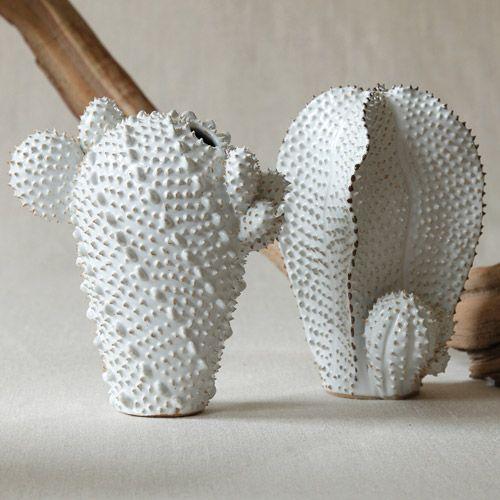 White Ceramic Cactus Vases Fdo Group Cactus Designs