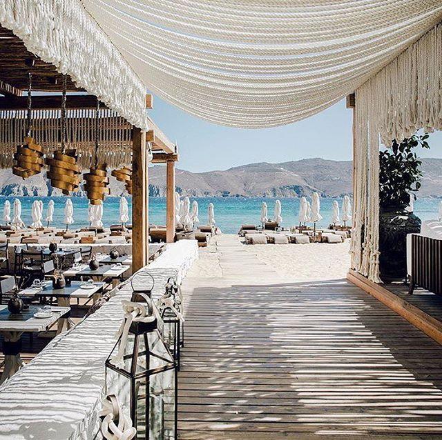 Panormos In Mykonos Speaks For Itself Photo Via Davidbiedert Beach Restaurant Design Mykonos Mykonos Beaches