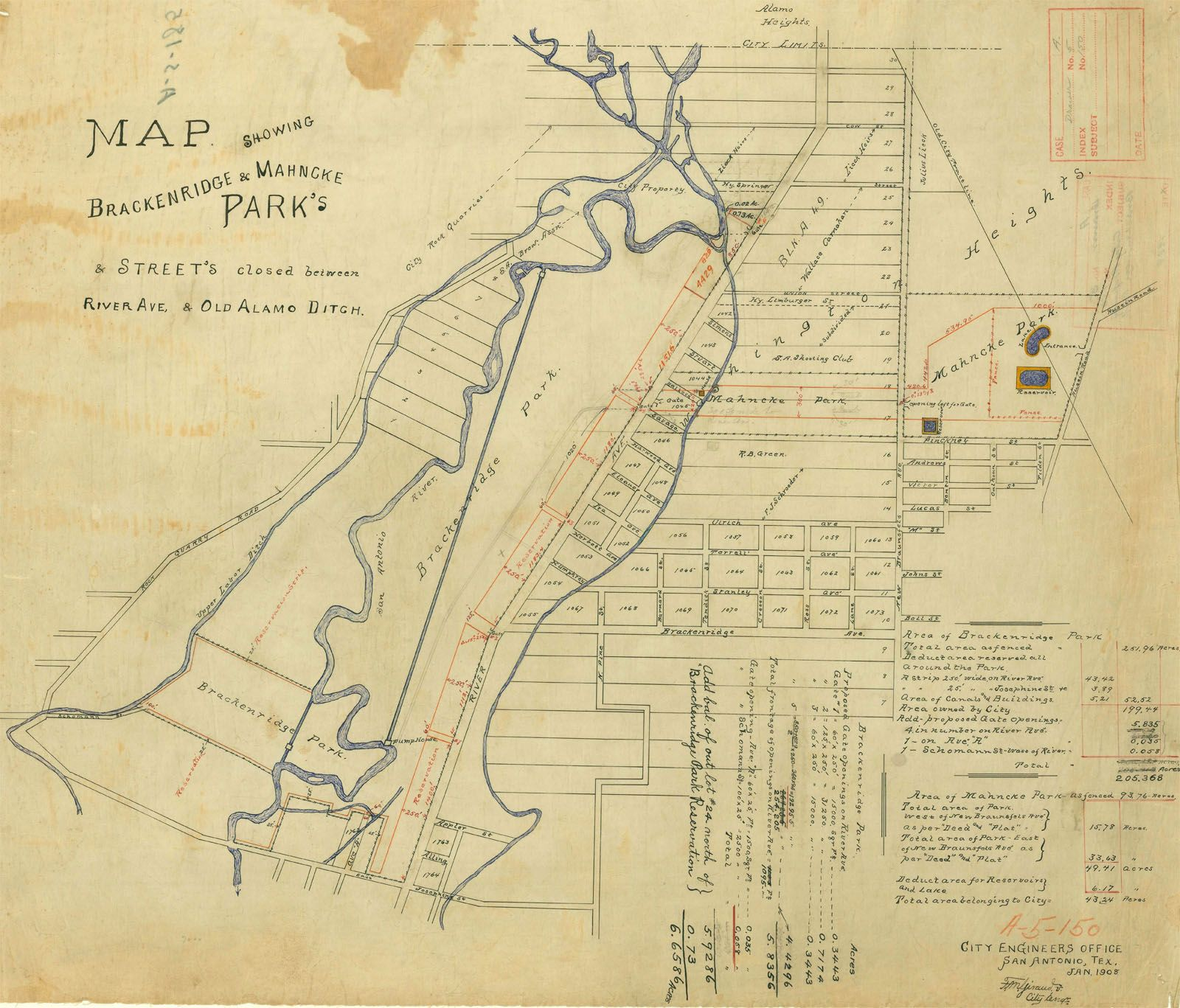 1908 Map Of Breckenridge Park And San Antonio Spring