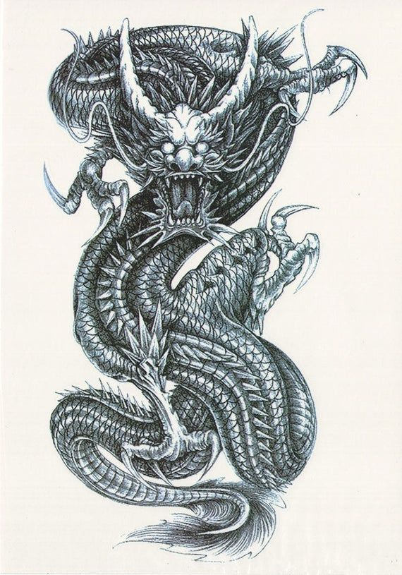 Big Black & White Coiled Chinese Dragon Temporary Tattoo  | Etsy