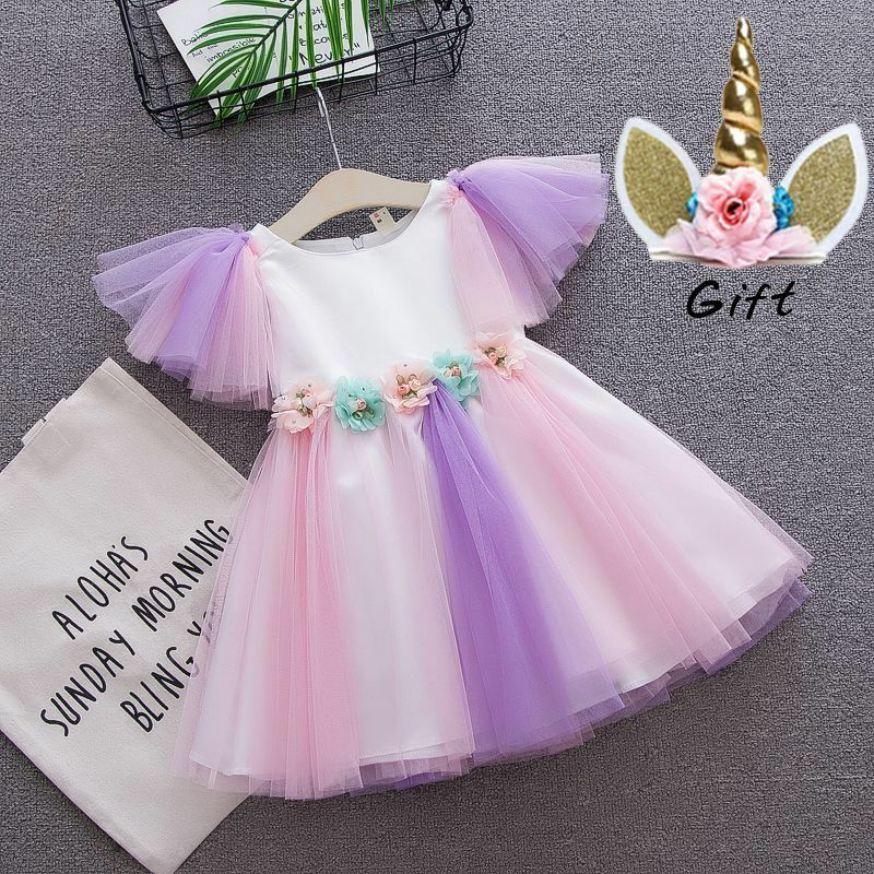 Newborn Baby Toddler Girl Unicorn Costume Pastel Tutu Dress with Headband First Birthday Party Princess 2PCS Set