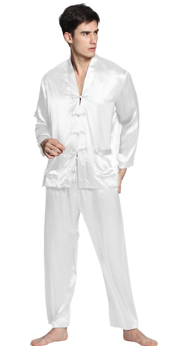 Men Silk Pajamas Set exotic buttoned front 22 Momme 100% Mulberry Silk  Lilysilk (XL f0af8b149