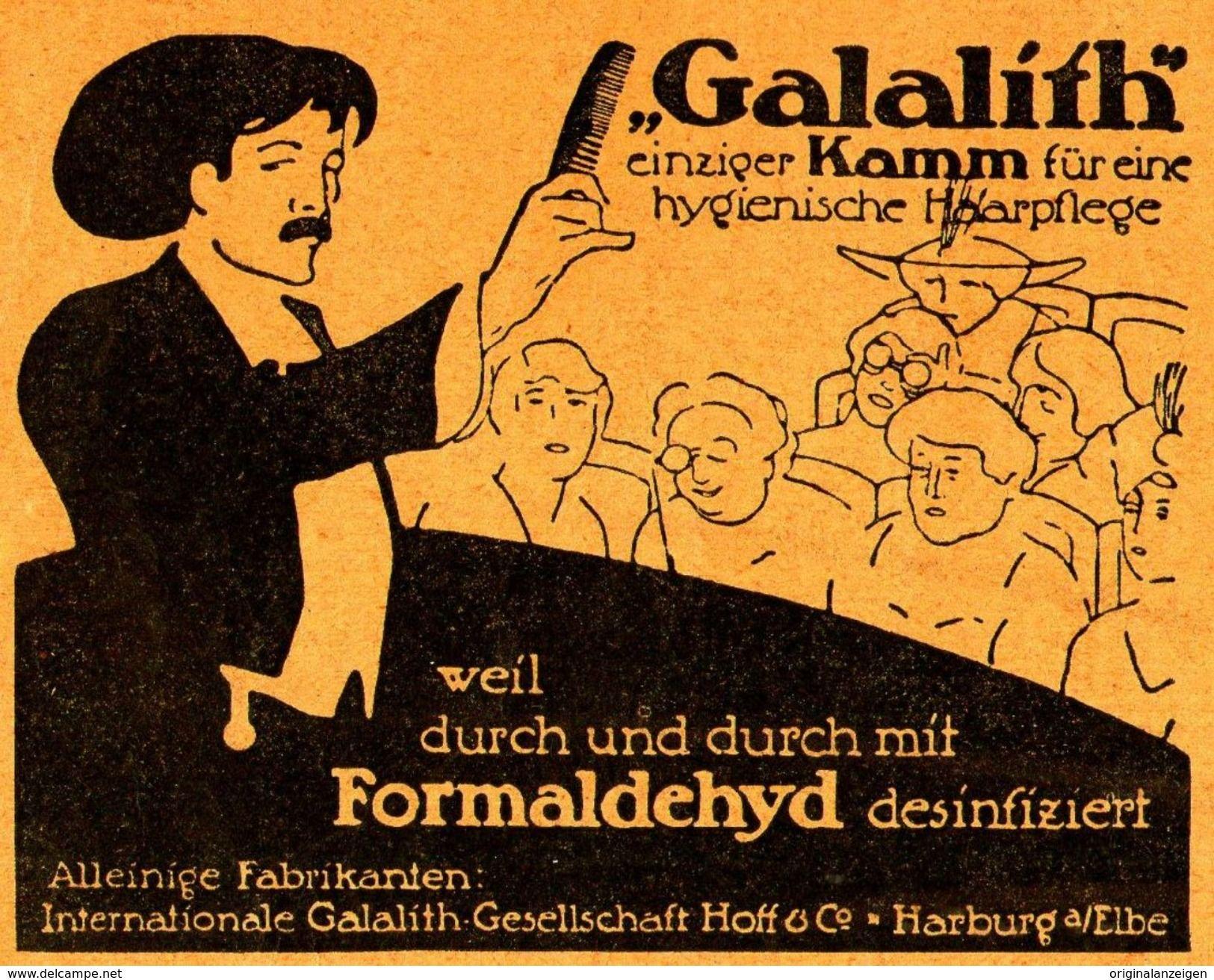 Original Werbung Anzeige 1913 Galalith Kamm Mit Formaldehyd Desinfiziert Harburg Ca 80 X 65 Mm Werbung