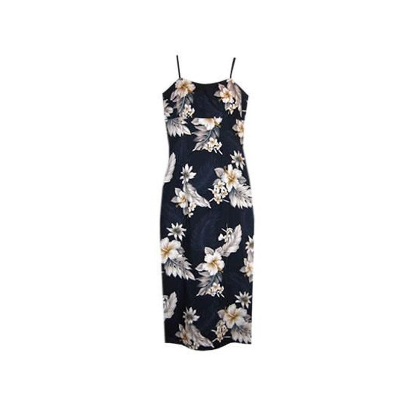 Blueberry Navy Long Hawaiian Skinny Strap Floral Dress
