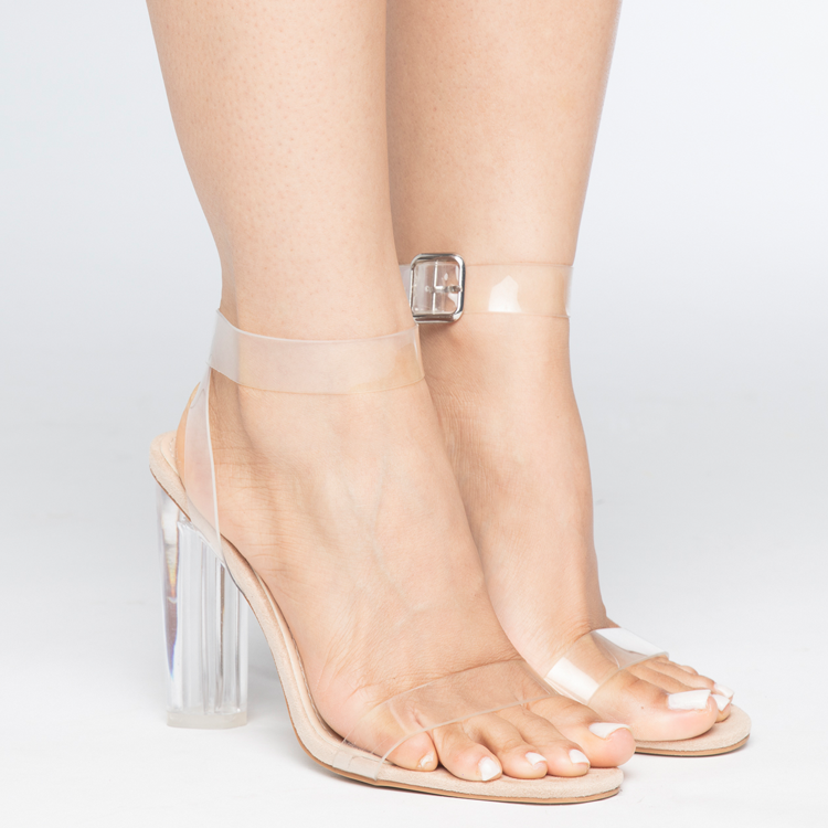 9ce95b336d75 MATAI Perspex Clear Heel Sandals with Lucite Heel at FLYJANE