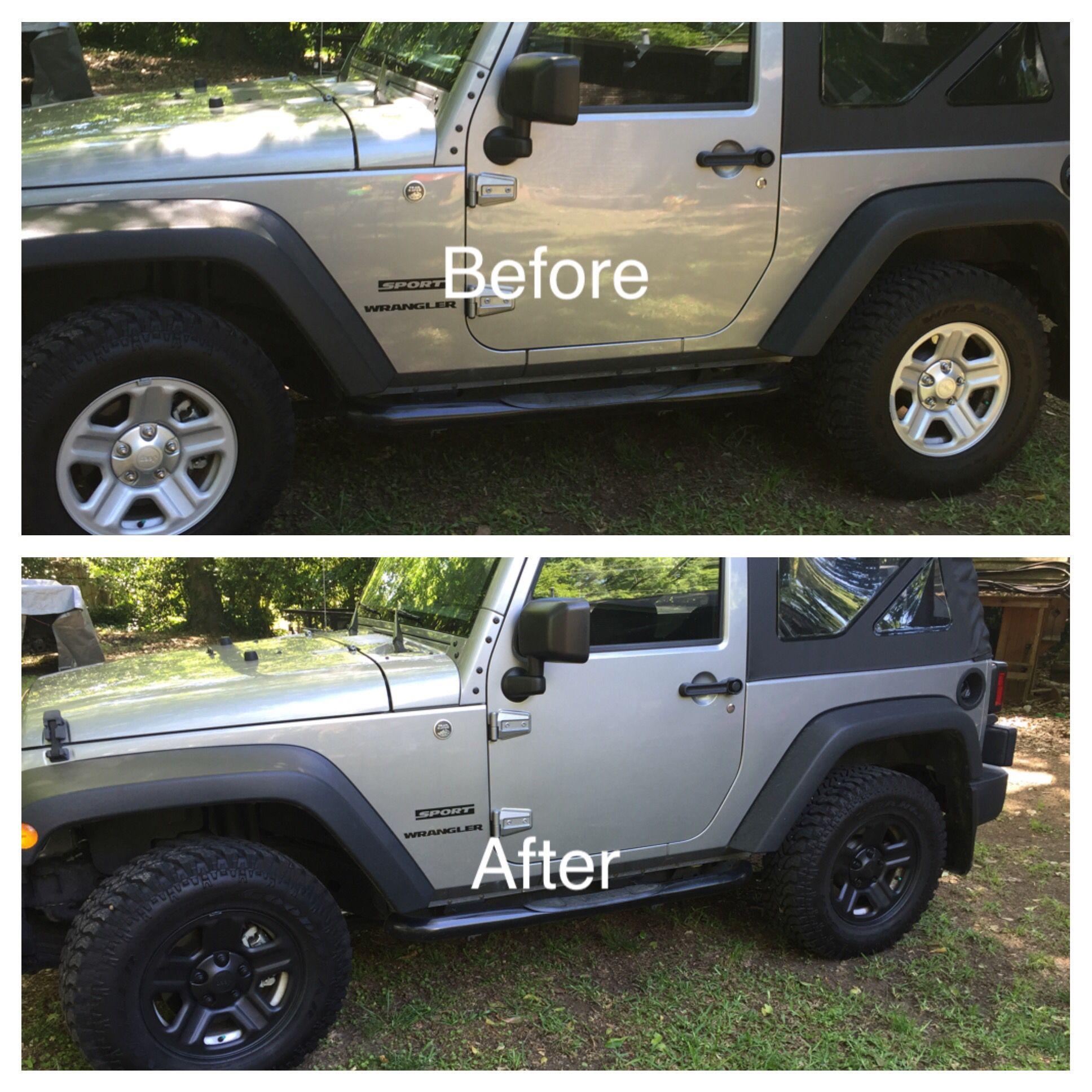 2015 Jeep Wrangler Rustoleum Matte Finish wheel paint job