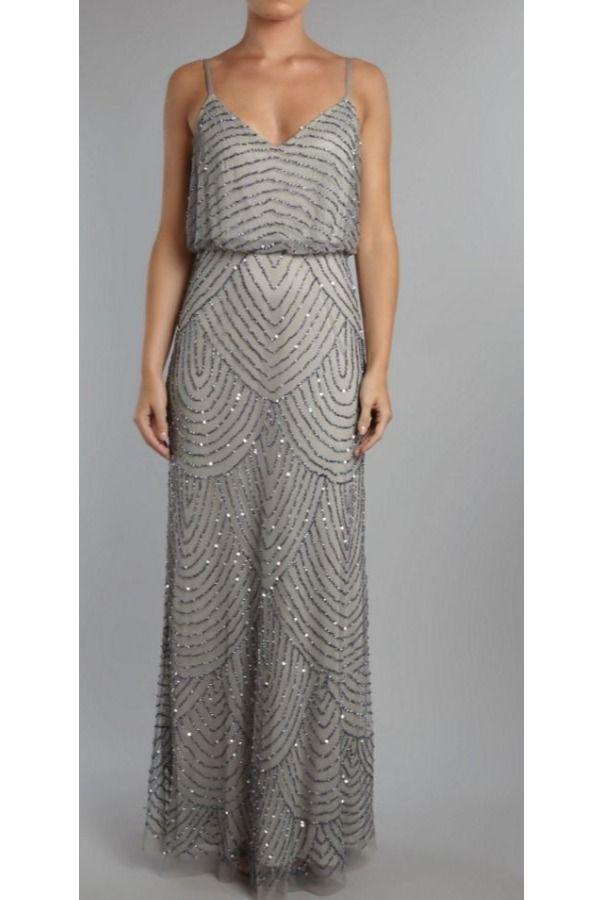 Adrianna papell long blouson dress, maxi dresses, shell: polyester ...