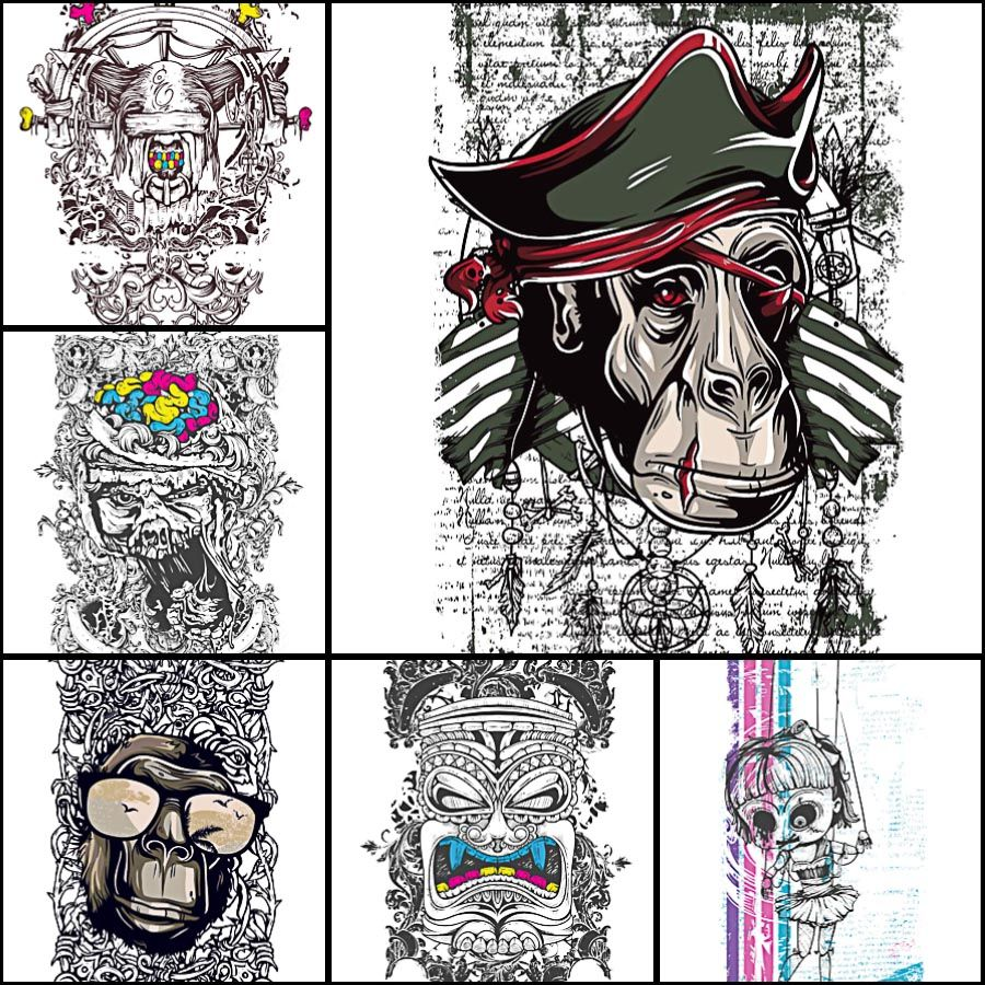 Corel draw vs photoshop for t shirt design - Set Of 6 Vectors With Grunge Demons Dolls And Apes For Your Personal Designs Of Coreldrawt Shirt