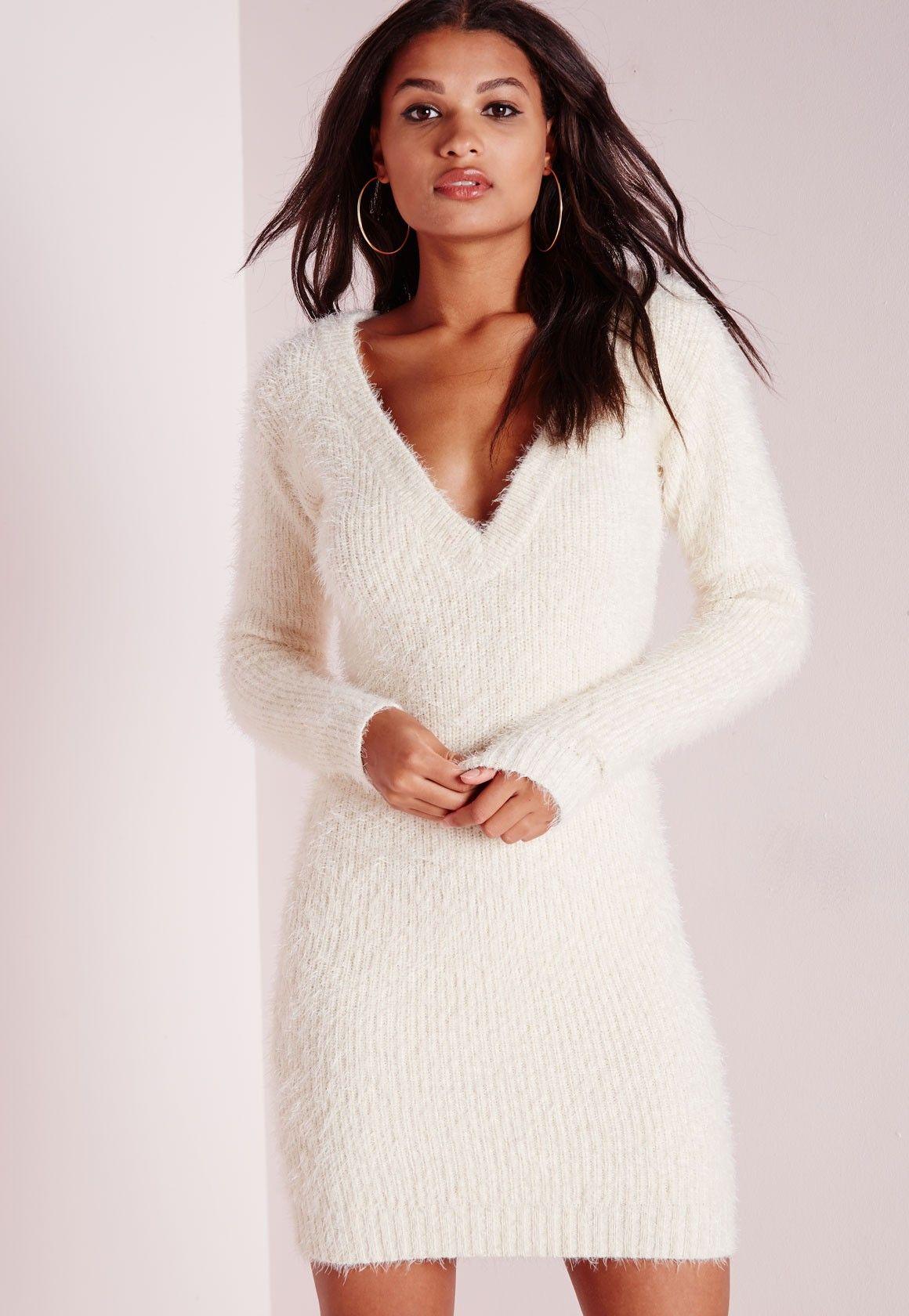 a2487cfd60c Missguided - Robe-pull en laine poilue couleur crème