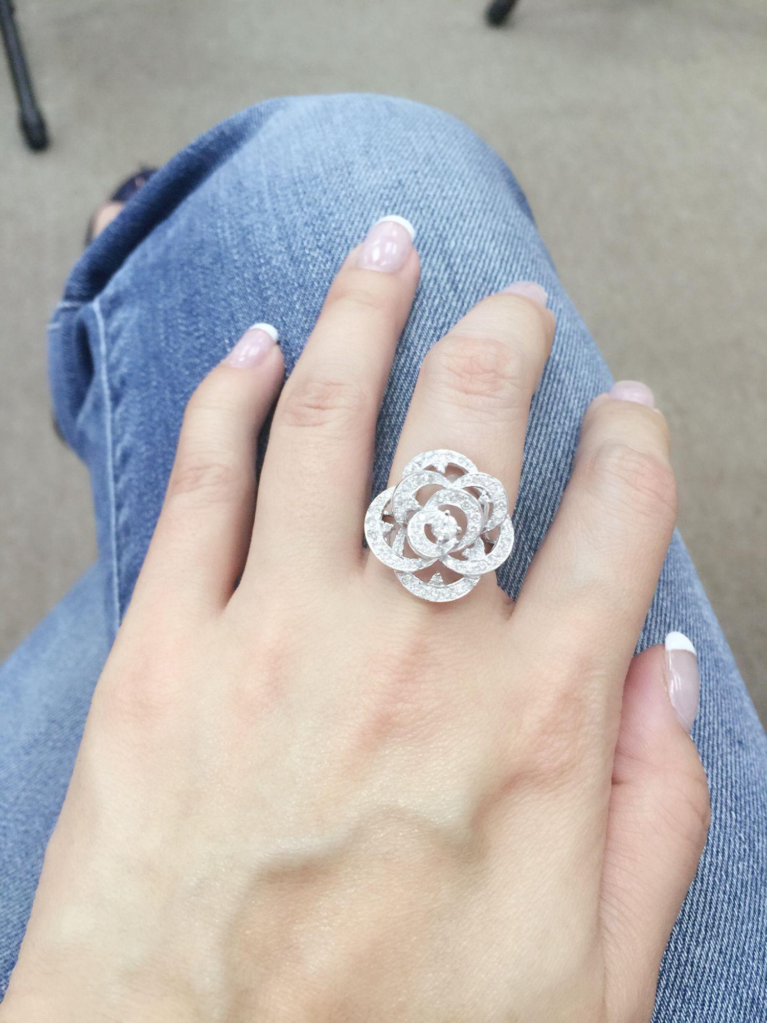 Simple Camellia Flower Diamond Ring Flower Diamond Ring Diamond Gemstone Rings