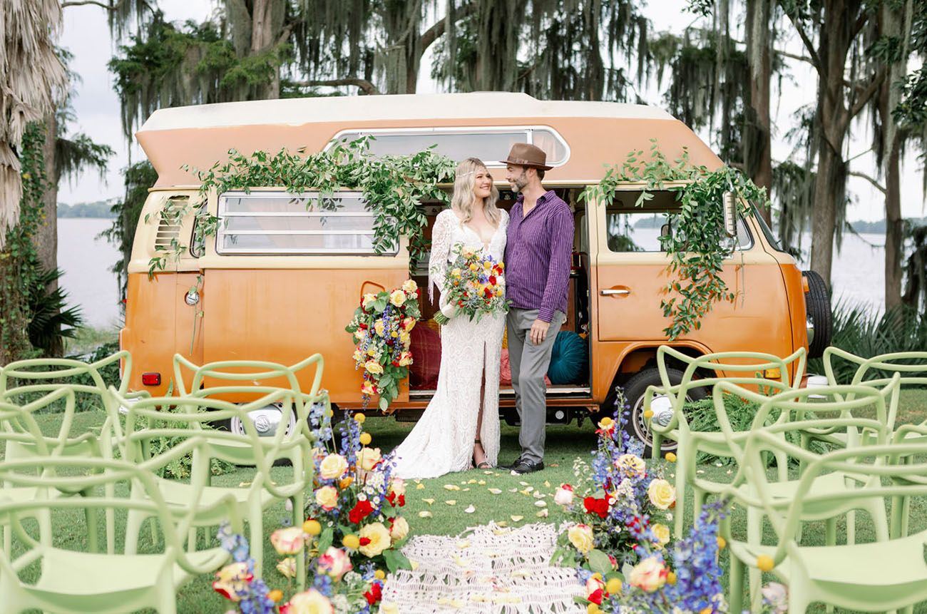 Peace Music Colorful Retro Woodstock Wedding Inspiration Green Wedding Shoes Woodstock Wedding Urban Wedding Venue Wedding Inspiration