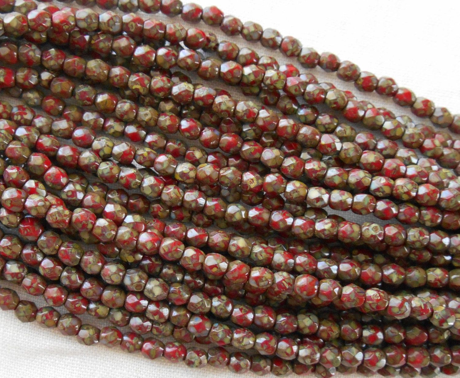 Fifty 3mm Czech Opaque Red Picasso glass round faceted firepolished beads, C1550