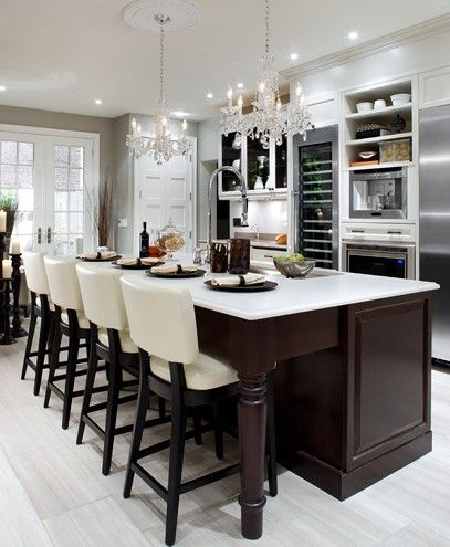 Beau Gourmet Kitchen Features Crystal Chandeliers Over An Island Adds A Touch Of  Elegance To Any Kitchen