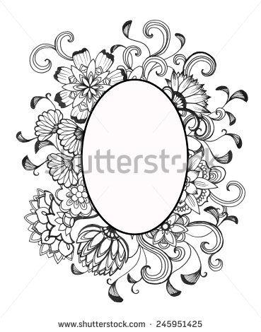 Hand Drawn Flower Frame In Black Ink And Blank Oval Center Elegant Vintage Floral Doodle Pattern Of Fancy Curls Line Design Elements On