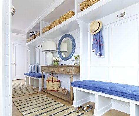 An organized blue, tan, and white mudroom entryway in an East ...