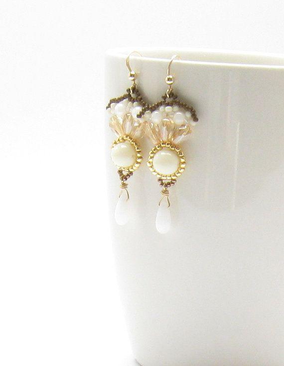 Long cream gold earrings white drop fan shaped by TamarKeny, $54.00