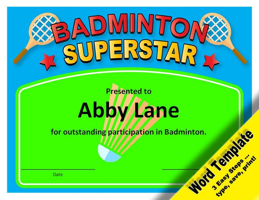 Badminton Award Editable Word Template Printable Instant Download