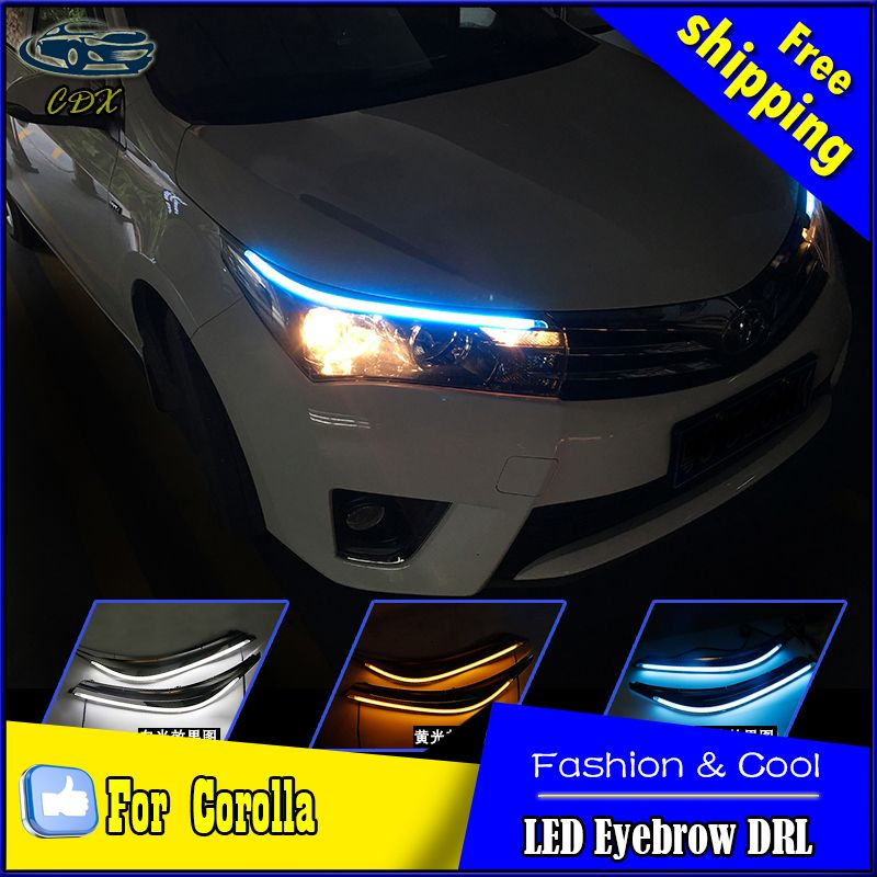 Car Styling Led Drl For Toyota Corolla 2014 2015 New Altis Eye Brow Light Led External Lamp Signal Parking Accessories Toyota Corolla Corolla Car Lights