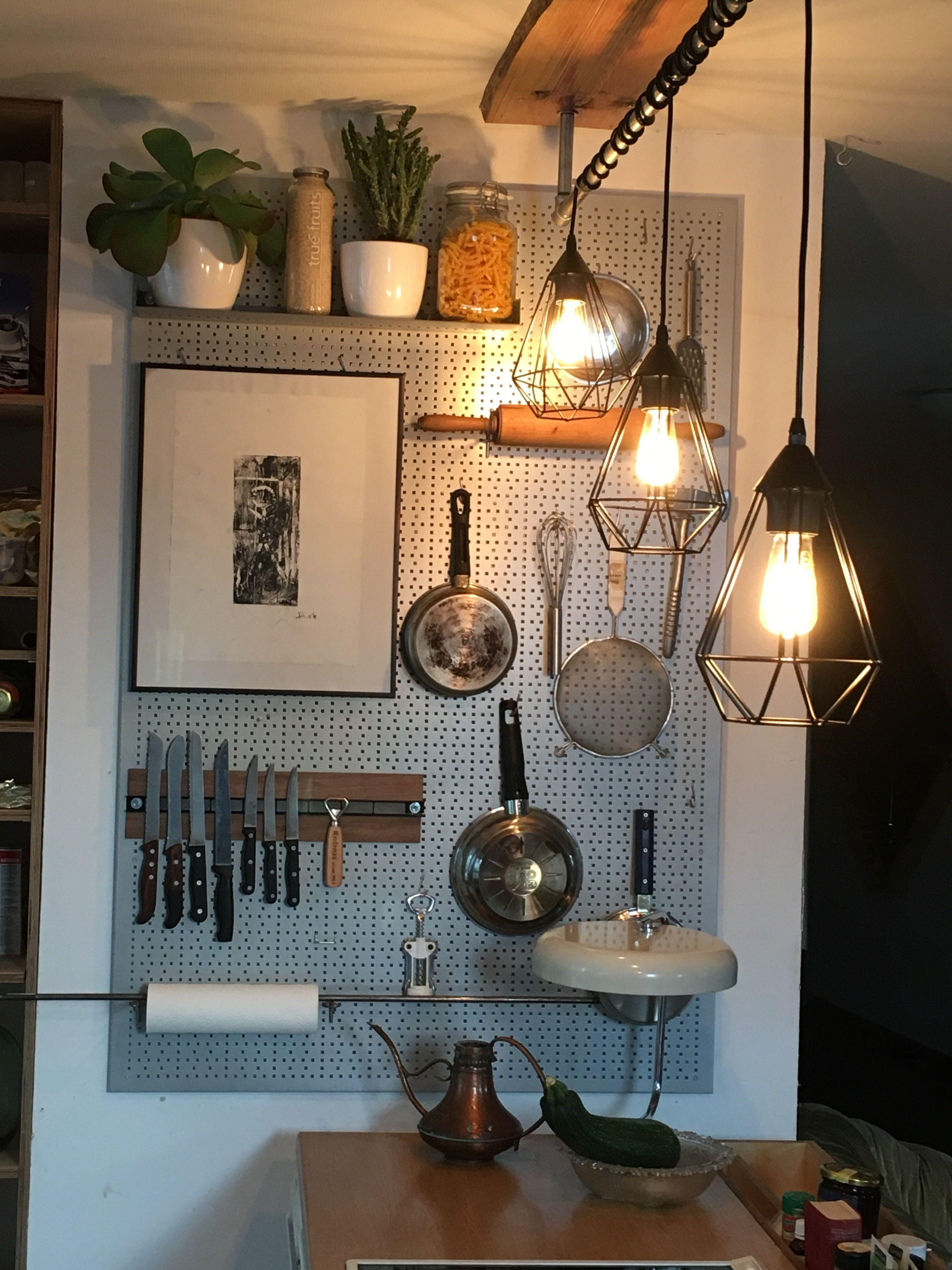 Hochwertig #lampen #küche #industrie #lochwand #hängelampen