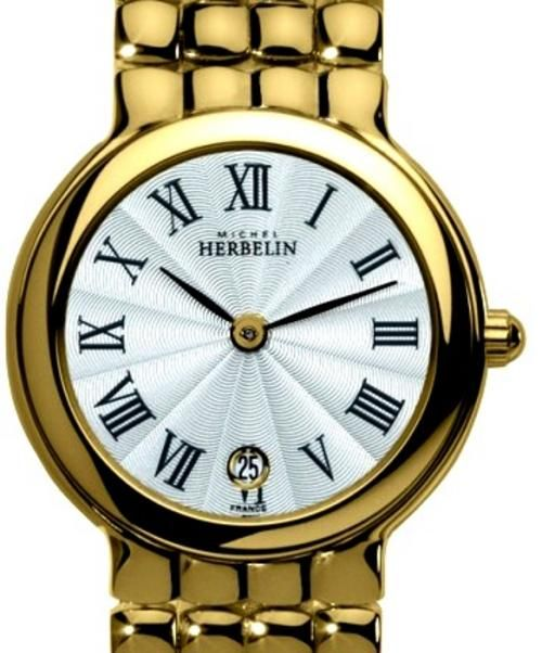 michelle herbelin watches | MICHEL HERBELIN Womens Gold Plated Pebble Link Bracelet Watch 16895 ...