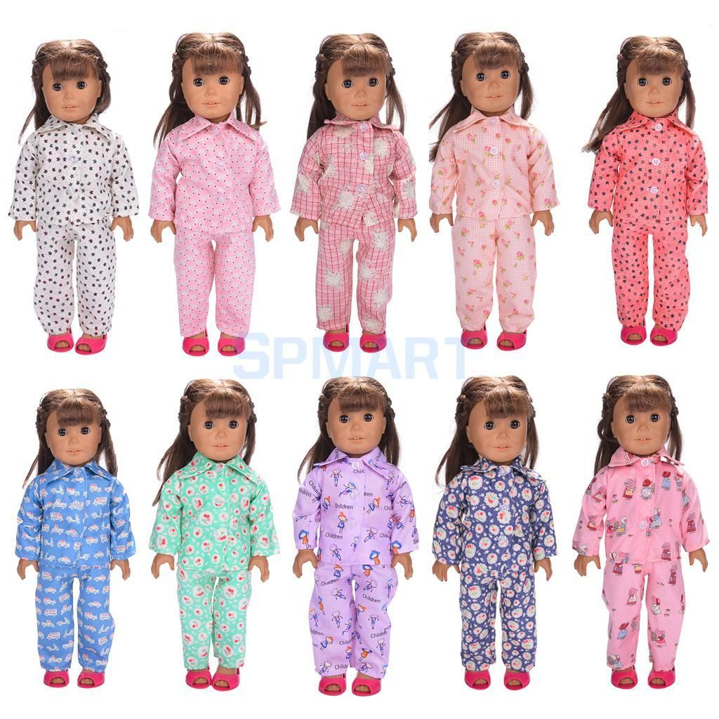 Doll Clothes Sleepwear Outfit Top+pants for 18 inch American Girl Doll Pajamas