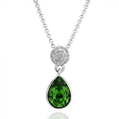 2dc0b58607ab1 18KGP Green Crystal Teardrop Pendant Necklace | Fashion Jewelry ...